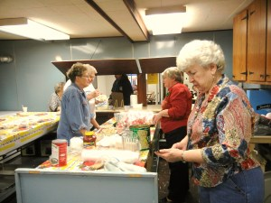 "Our Church ladies serving a free, hot lunch to the community on ""Soup Tuesdays"""
