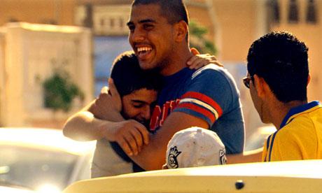 Hugging Sportsmen