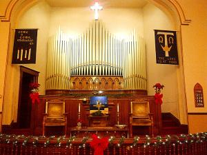 Central Church Decorated for Christmas