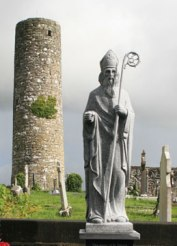 This sculpture of St. Patrick stands in a Aghagower, County Mayo, Ireland.