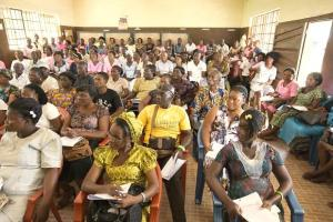 Community health workers undergo training in the Kakua Chiefdom, outside Bo, Sierra Leone prior to a distribution of insecticide-treated mosquito nets by The United Methodist Church's Imagine No Malaria initiative.