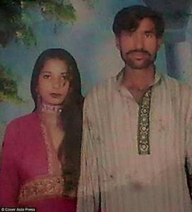 A photo of the Christian couple Shama Bibi (left) and Shehzad Masih, who were murdered in Pakistan after a mob accused them of desecrating a copy of the Koran